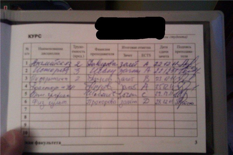 выписка оценок студента образец